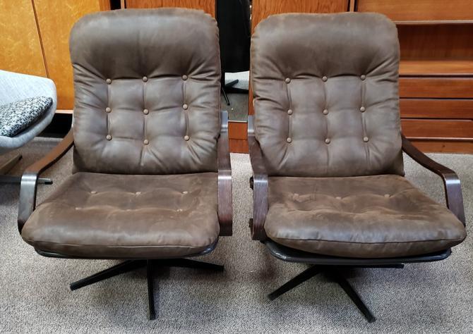 Item #DMC45a Pair of Vintage Brown Suede Swivel Chairs c.1970