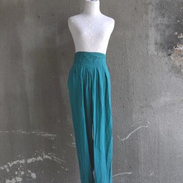 90s Vintage Pants | Harem Pants | Teal Pants Green | High Waist Pants | Small Pants S | Medium Pants M | Size 6 Pants | Size 8 Pants by aphroditesvintage