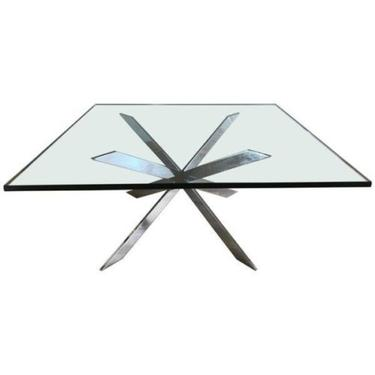 Chrome X-Base Coffee Table in the Style of Leon Rosen