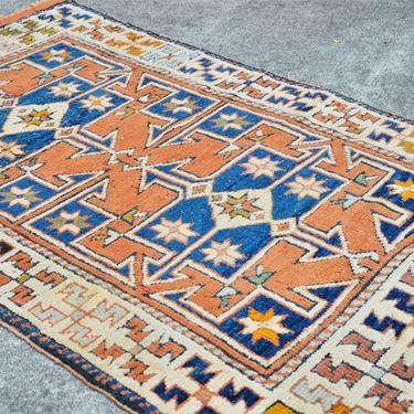 """Bergama Vintage Distressed Turkish Hand Knotted Rug - 2' 10""""  x  4' 9"""" by SourcedModern"""