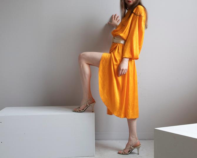 color block orange silky disco dress size M L by EELT