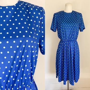 Vintage 1980s Blue & White Polkadot Day Dress / S/M by MsTips