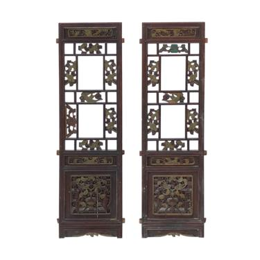 Pair Chinese Vintage Restored Wood Brown Flower Carving Wall Hanging Art cs6966E by GoldenLotusAntiques