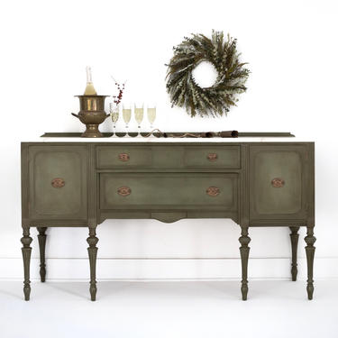 SOLD SOLD Hand Painted Olive Green Vintage Buffet Table, Traditional Dinette Server, Elegant Sideboard, with Drawers & Cabinet Storage by GreenSpruceDesigns
