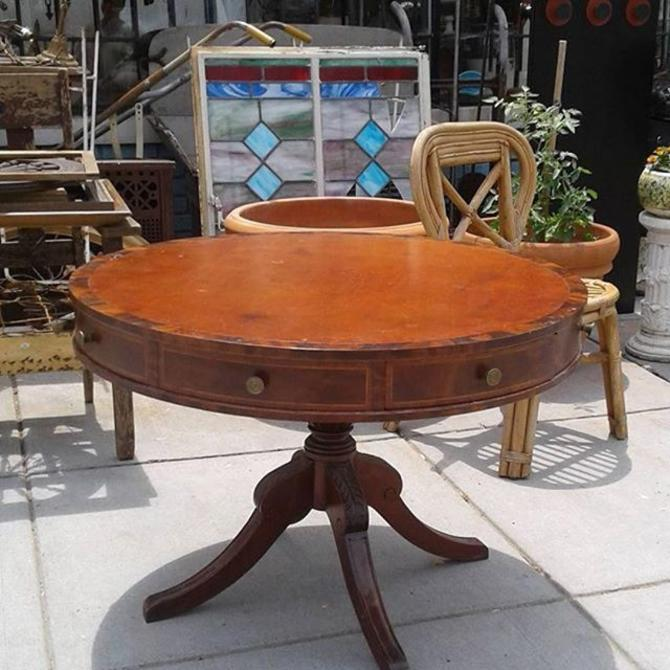 "Luxury sized Drum Table 36"" 24"" tall"