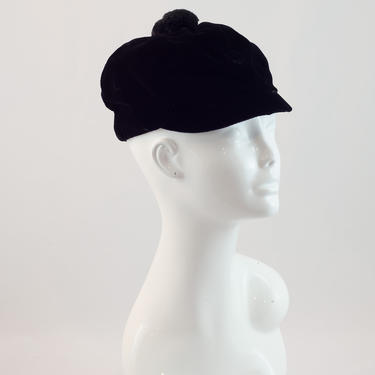 1960s Vintage Hat - Soft Black Velvet Riding Style Cap With Puff Ball by DomesticatedPinup