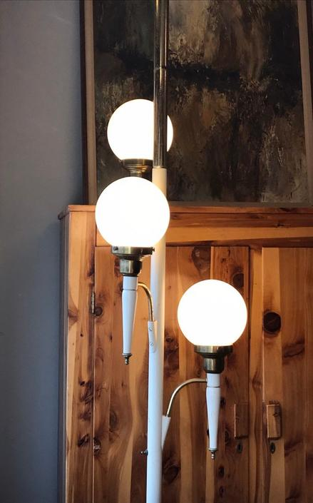 Vintage White Pole Tension Globe Lamp by UrbanInteriorsBalt
