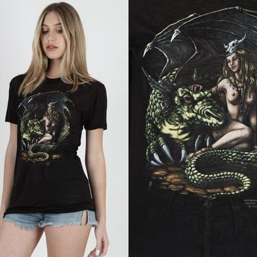 Just Brass Winged Dragon Fantasy T Shirt Vintage 80s 3D Emblem Thin Black T Shirt Sci Fi Naked Girl XXX Biker Burnout Thin Single Stitch Tee by americanarchive