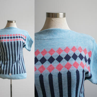 Vintage 1960s Knit Sweater / Vintage Knit Tshirt / Argyle Knit Sweater Blouse / Blue and Pink Sweater / Deadstock Vintage / 1960s NOS by milkandice