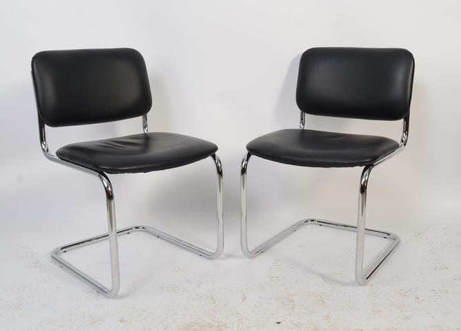 2 Black Leather Chrome Chairs Breuer Style Cesna Chair Mid Century Modern by HearthsideHome