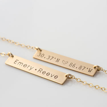 Personalized Bar Necklace/Engraved Bar Necklace/Gold or Silver Custom Name Plate/Initial Necklace/Roman Numeral/Valentines Gift/Gift For Her by LEILAjewelryshop
