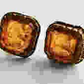 Mid Century Gold Glass Intaglio Earrings by LegendaryBeast