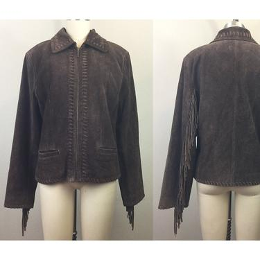 Vintage 90s Brown Suede Fringe Leather Jacket M by FlashbackATX