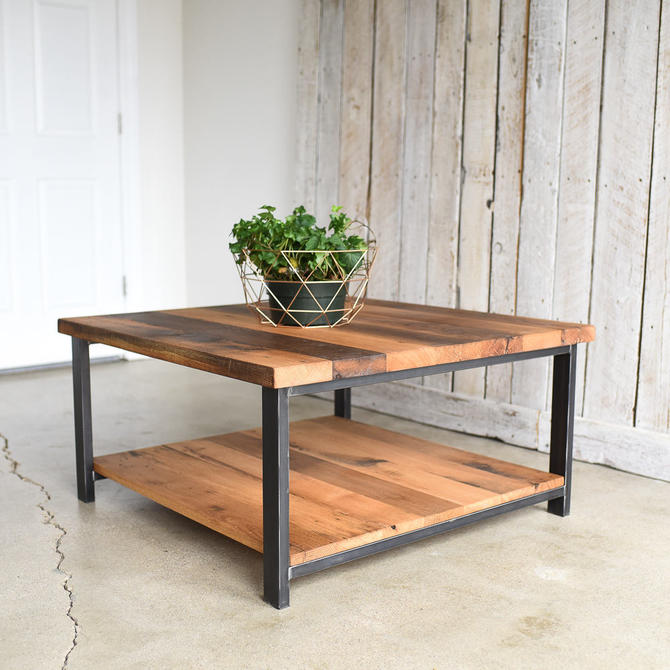 Square Oak Coffee Table / Rustic Reclaimed Wood and Steel Coffee Table by wwmake