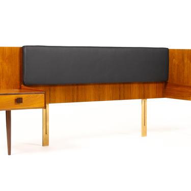 Danish Modern / Mid Century Teak Headboard + Floating nightstand Assembly — Queen Size — Kofod Larsen for G-Plan by atomicthreshold
