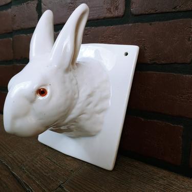 White Ceramic Rabbit Kitchen Towel Holder/String Holder by RedsRustyRelics