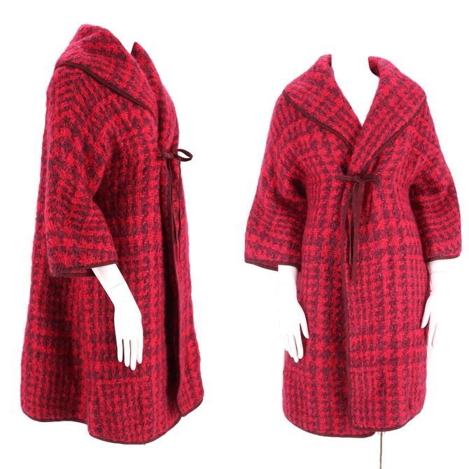 60s SILLS Bonnie Cashin plaid mohair wool coat M / vintage 1960s plaid fuchsia purple suede trim car clutch swing coat 50s by ritualvintage