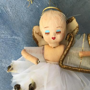 Vintage Angel Playing Harp Ornament, Christmas Angel Hand Painted Face, Feather Hair, Made In Japan by luckduck