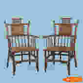 Pair Of Burnt Bamboo And Brass Pagoda Chairs
