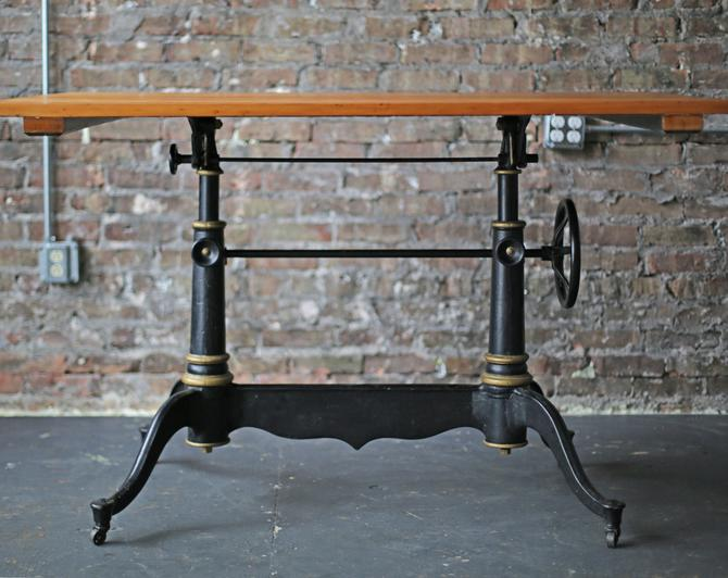 """beautiful and rare vintage cast iron base """"Columbia"""" drafting table by Eugene Dietzgen by jeglova"""