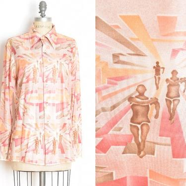 vintage 70s shirt disco RUNNERS art deco people print dagger collar top blouse L clothing pink by huncamuncavintage