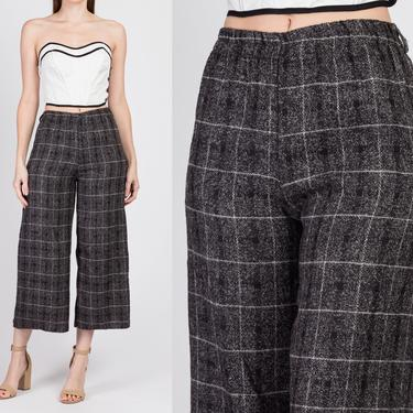 Vintage High Waisted Plaid Ankle Pants - Small to Medium | 90s Straight Leg Cropped Knit Elastic Waist Trousers by FlyingAppleVintage