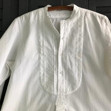 French Mens Dress Shirt, Fine Quality White Cotton, Embroidery Detail, Edwardian Period Clothing by JansVintageStuff
