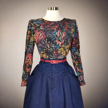 Vintage 90s Novelty Print Blouse, Small / Chalkboard Drawing Dress Blouse / Back to School Teacher Blouse / Multi Color Floral Silk Blouse by SoughtClothier