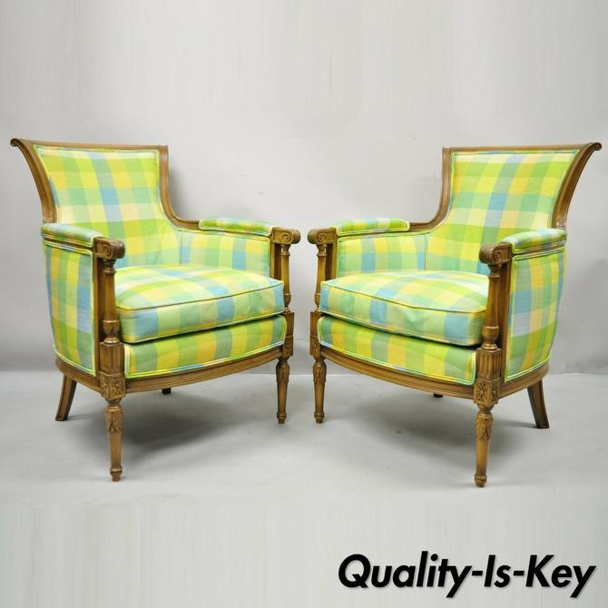 French Louis XVI Empire Directoire Green Plaid Bergere Lounge Arm Chair - a Pair