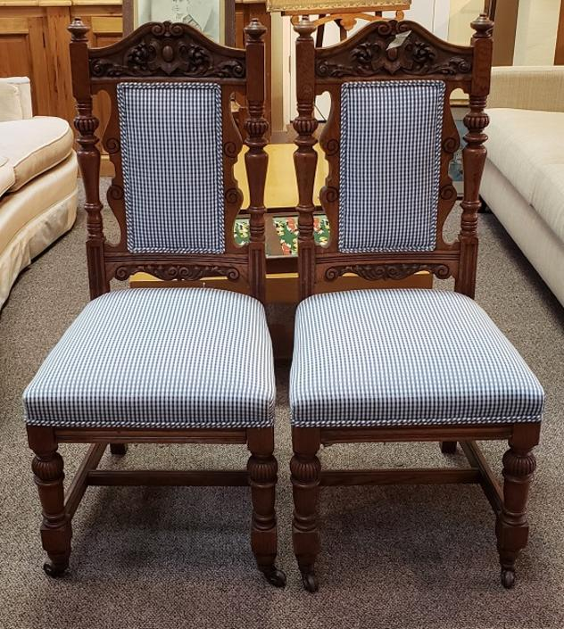 Item #SD224 Pair of Victorian Oak & Upholstered Side Chairs c.1900