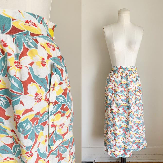 """Vintage 1930s Feedsack Cotton Floral Skirt / 29"""" waist by MsTips"""
