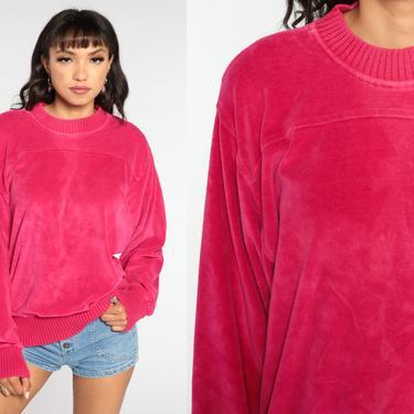 80s Velour Sweatshirt -- Hot Pink Sweatshirt Soft Long Sleeve Shirt 80s Retro Top Plain Sweatshirt 1980s Pullover Sweater Medium by ShopExile