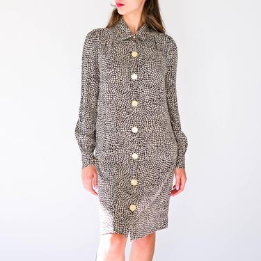 Vintage Diane Von Furstenberg Black & Taupe Animal Print Silk Tunic Dress w/ Large Brass Snap Buttons | Y2K 2000s DVF Designer Silk Dress by TheVault1969