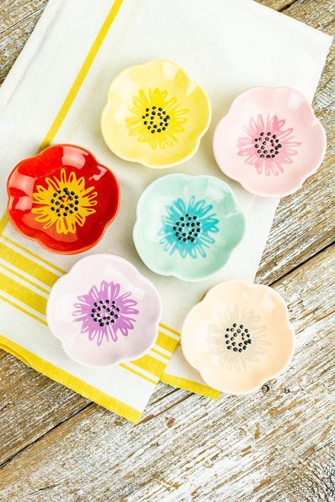 Floral Trinket Dishes Set of 6