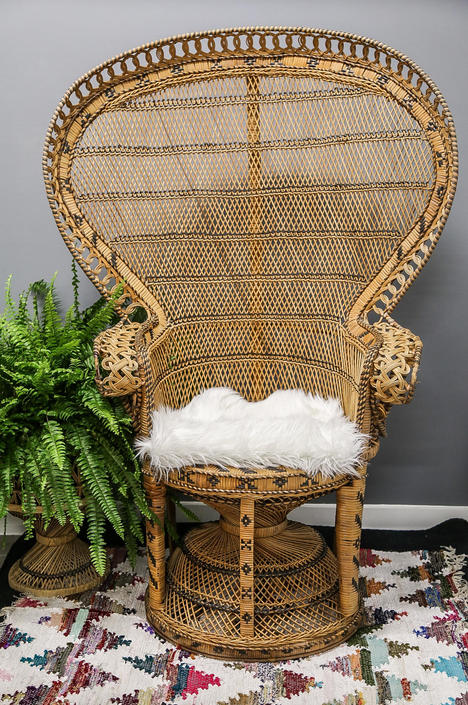 Magnificent Vintage Emmanuelle Peacock Chair Wicker High Back Fan Rattan Gmtry Best Dining Table And Chair Ideas Images Gmtryco