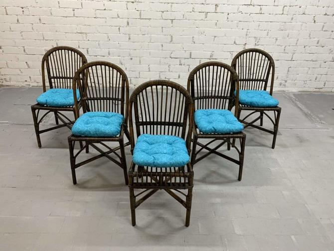 Set of 5 Italian Vintage Bamboo Patio Dining Chairs