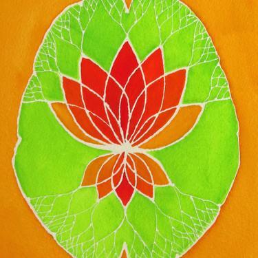 Sunshine Orange Lotus Brain  -  original watercolor painting - neuroscience art by artologica