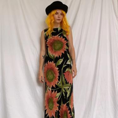 90s Pink Sunflower Midi Dress by TheMetalRomanticShop