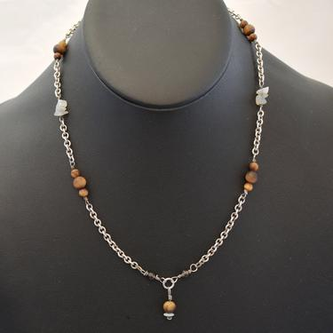 70's handcrafted sterling tigers eye smoky & white quartz hippie Y choker, 925 silver rolo chain beads and nuggets boho necklace by BetseysBeauties