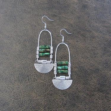Imperial jasper earrings, green tribal chandelier earrings, unique ethnic earrings, modern Afrocentric earrings, boho chic earrings, silver by Afrocasian