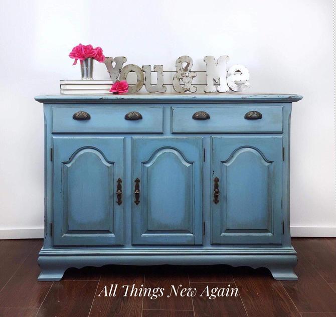 Blue Buffet | Blue Sideboard | Rustic Blue Buffet | Farmhouse Buffet | Vintage Buffet | Credenza | Light Blue Buffet | Milk Paint by AllThingsNewAgainVA