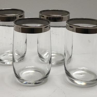 Silver Rimmed Juice Glasses