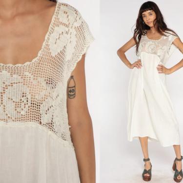 White Gauze Dress Bohemian Midi Dress CROCHET Sheer Cotton Gauze Peasant Cottagecore Tent Lace Hippie Boho Sundress Vintage Medium Large by ShopExile