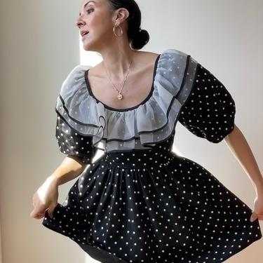 Vintage Black + White Polka Dot Ruffle Party Dress by ShopLaTierra