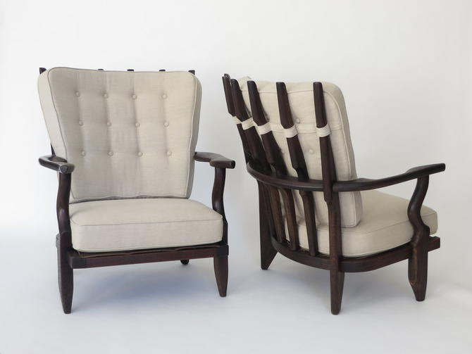Pair of Guillerme et Chambron French Oak and Linen Lounge Chairs Model Petit Repos