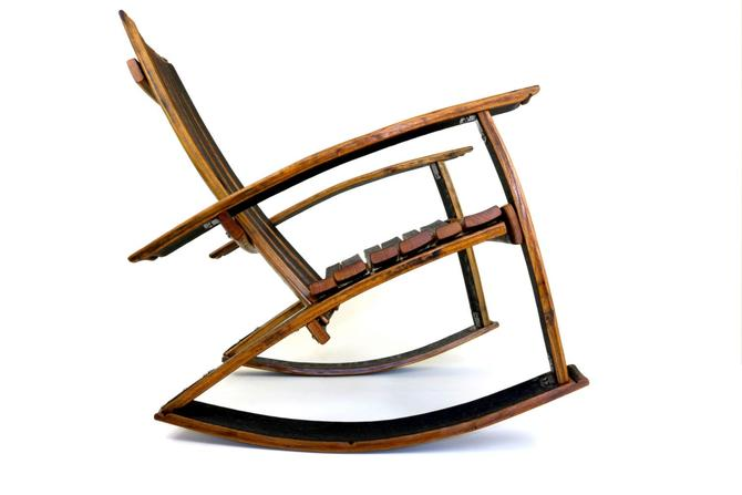 Recurved Bourbon Barrel Rocker - Whiskey Barrel Rocking Chair by HungarianWorkshop