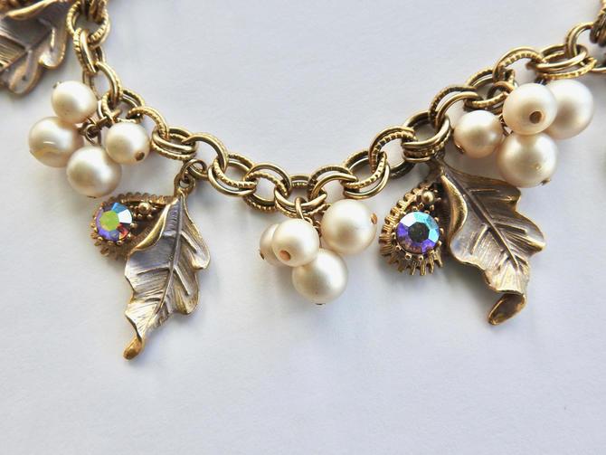 Faux Pearl and Aurora Rhinestone Charm Bracelet Leaves by LegendaryBeast