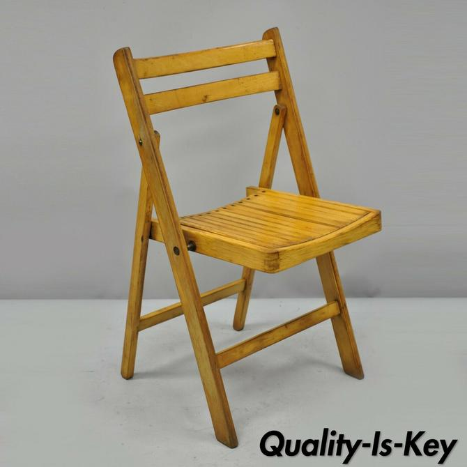 Vintage Wood Slat Seat Mid Century Modern Folding Dining Game Chairs
