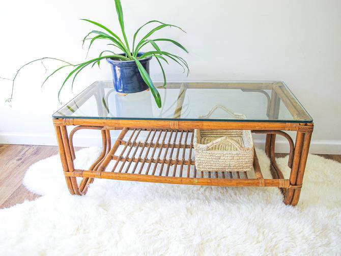 Beautiful Sunrise Bamboo Coffee Table with Thick Glass Top by PortlandRevibe
