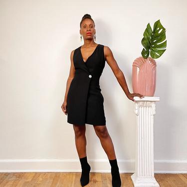 Vintage 1980s 1990s Jewel Button Dress Sleeveless Black Blazer Dress Vest Dress One Piece Wrap Dress Formal or Business Professional Attire by KeepersVintage
